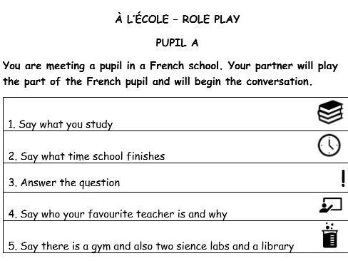 GCSE French speaking role play (school)