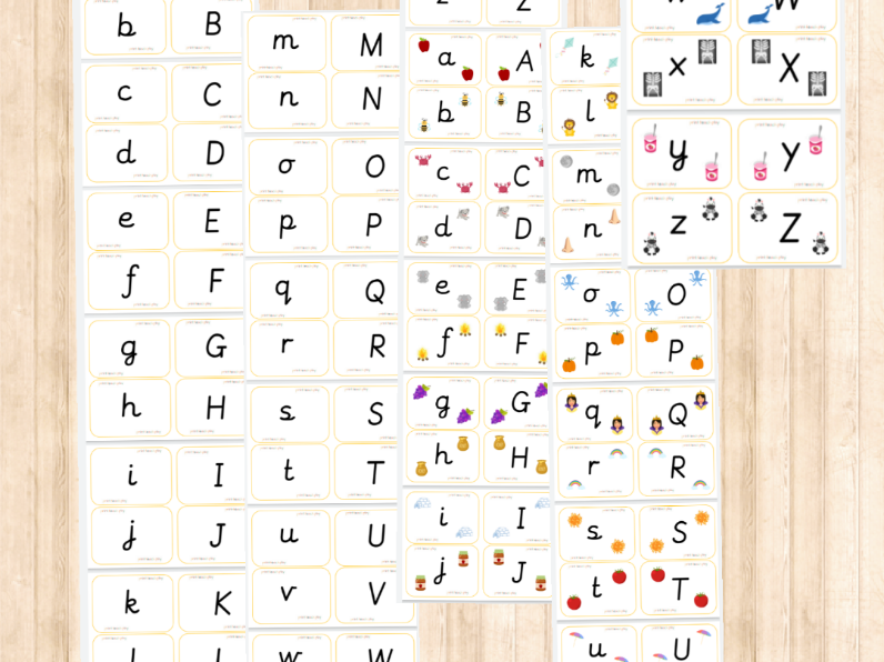 Alphabet Matching Cards - Lowercase/Capitals (precursive)