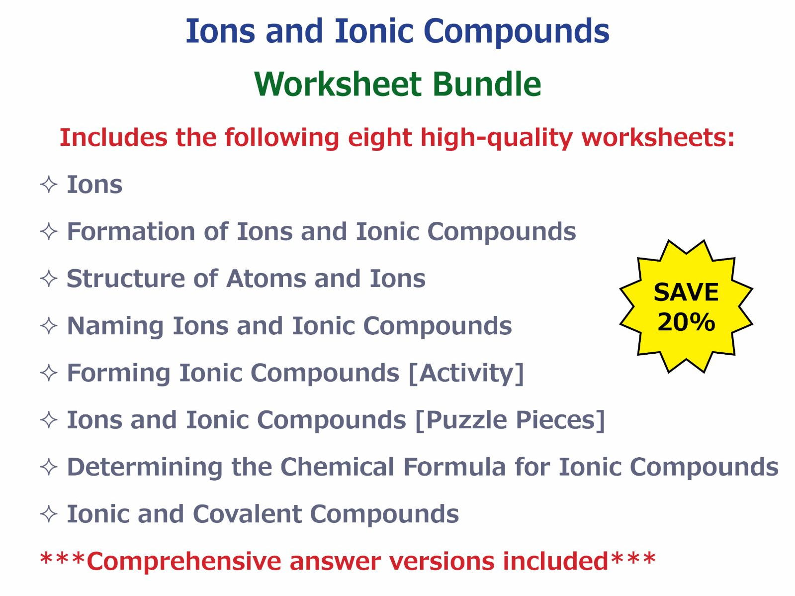 Determining the Chemical Formula for Ionic Compounds Worksheet – Writing Ionic Compounds Worksheet