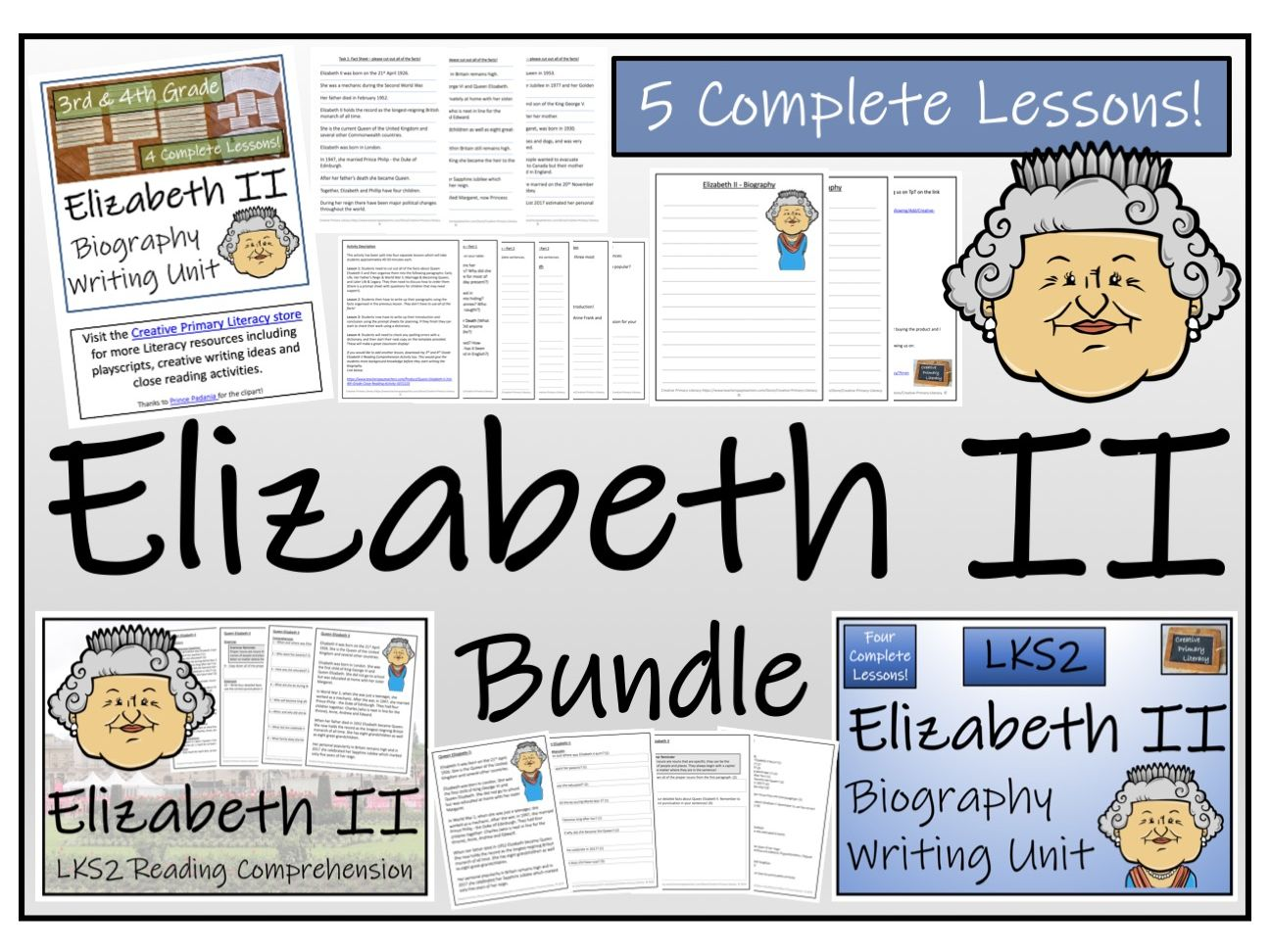 LKS2 Literacy - Queen Elizabeth II Reading Comprehension & Biography Bundle