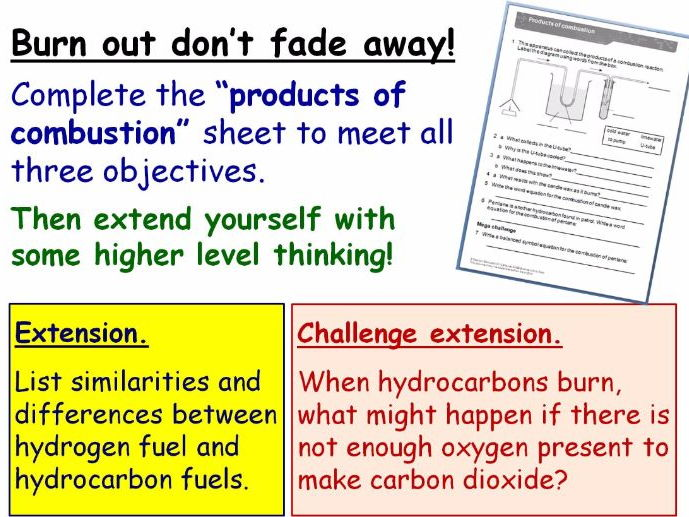 Combustion: Burning Fuels Year 8 Lesson PowerPoint (KS3 8Ea) Hydrocarbons, Word Equations
