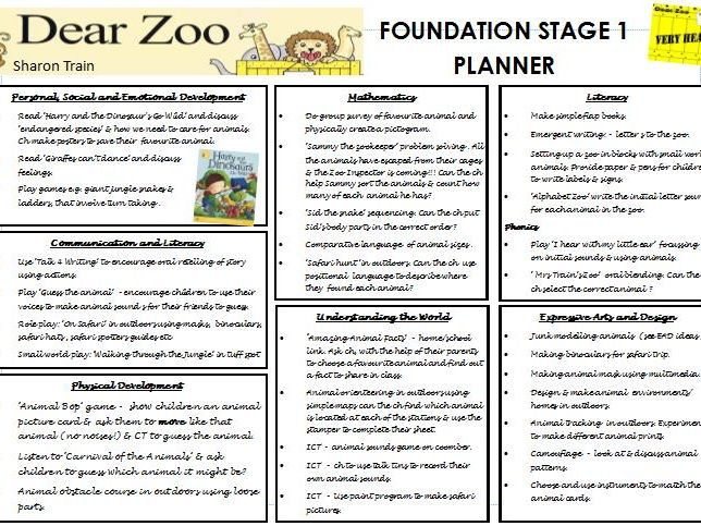 Dear Zoo planning and resources