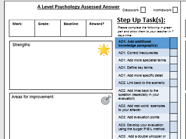 A Level Psychology AQA - Formative and Summative Feedback Forms