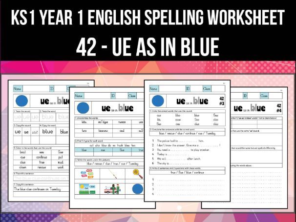 Spelling & Phonics Worksheet - uː sound spelled UE