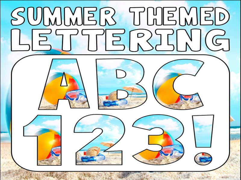 SUMMER THEMED DISPLAY LETTERING- LETTERS, NUMBERS, PUNCTUATION- WEATHER SEASONS BEACH