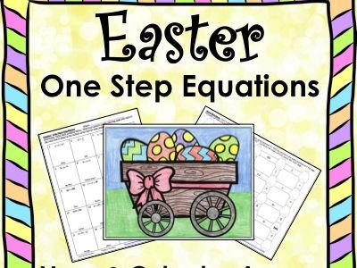 Solving Equations Spring Easter Math One Step Equations (Negatives) Maze & Color by Number Bundle