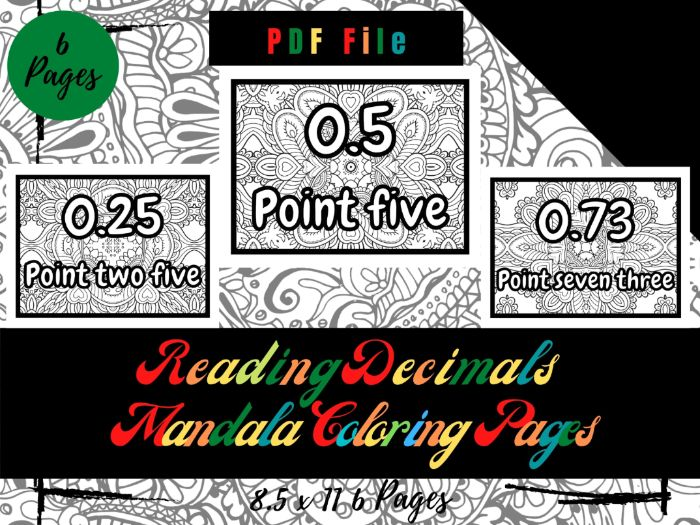 Reading decimals Mandala in The Background Coloring Pages For Kids, Sheets PDF, Printable Pages