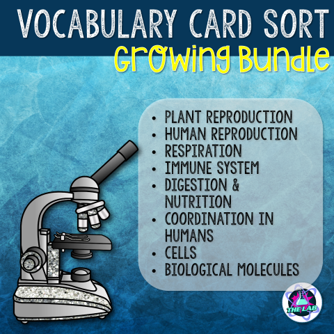 Biology Vocabulary Card Sort Growing Bundle