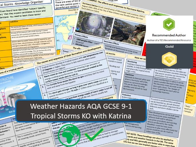 GCSE 9-1 AQA : Tropical Storms with Hurricane Katrina as Example - Knowledge Organiser and Revision