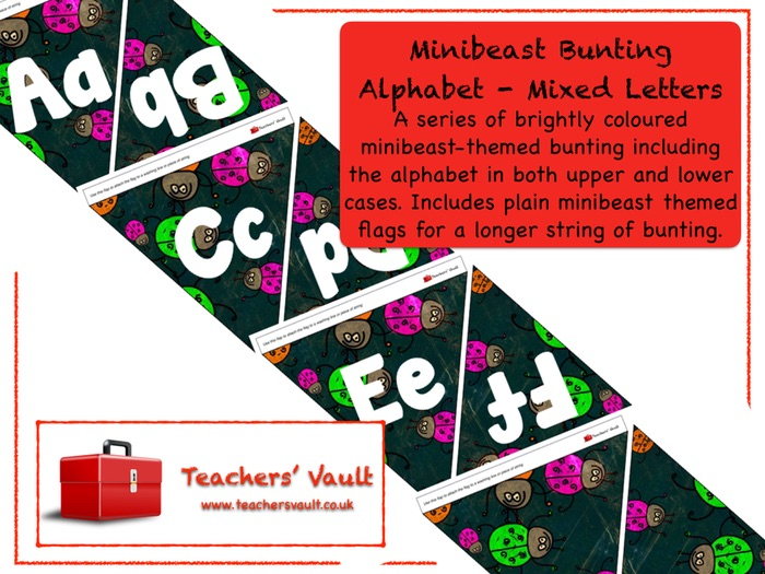 Minibeast Bunting Alphabet - Mixed Letters