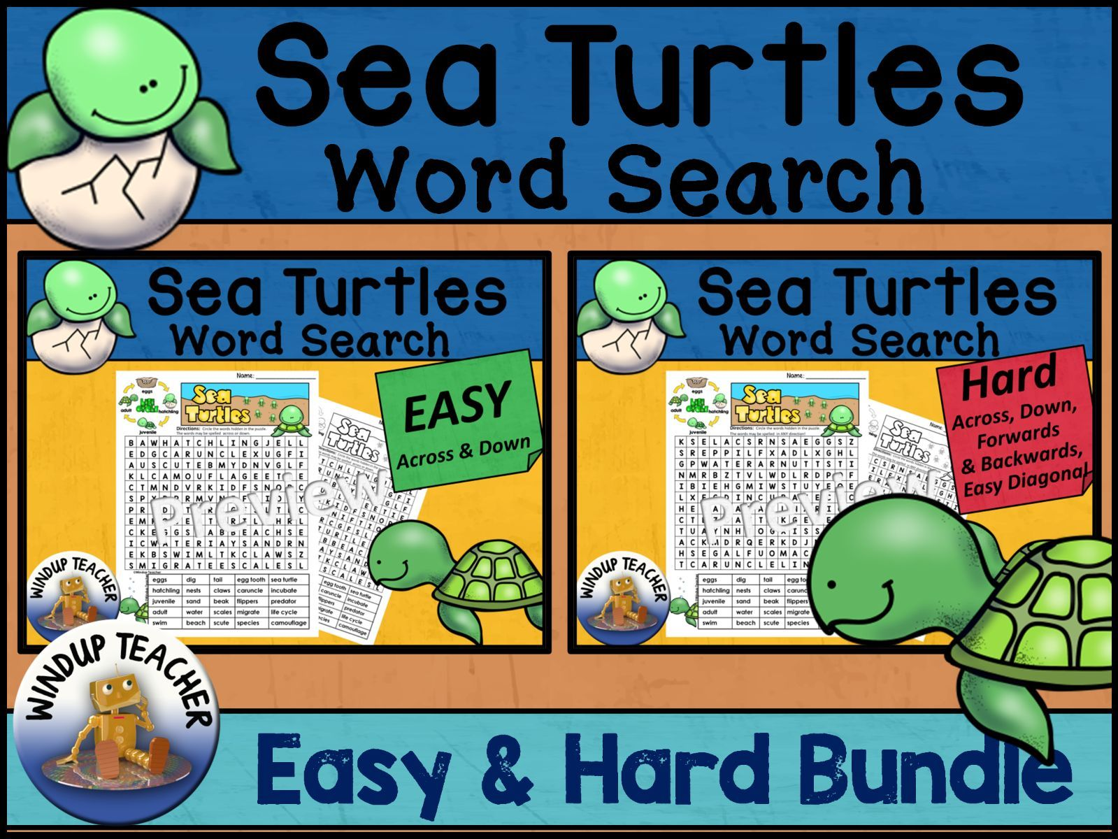 Sea Turtle Life Cycle Word Search BUNDLE