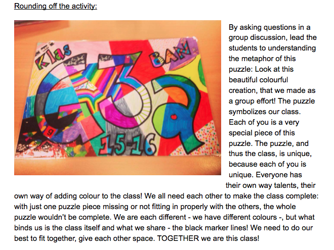 Back to School Class building: making a personal CLASS PUZZLE as a metaphor for the class