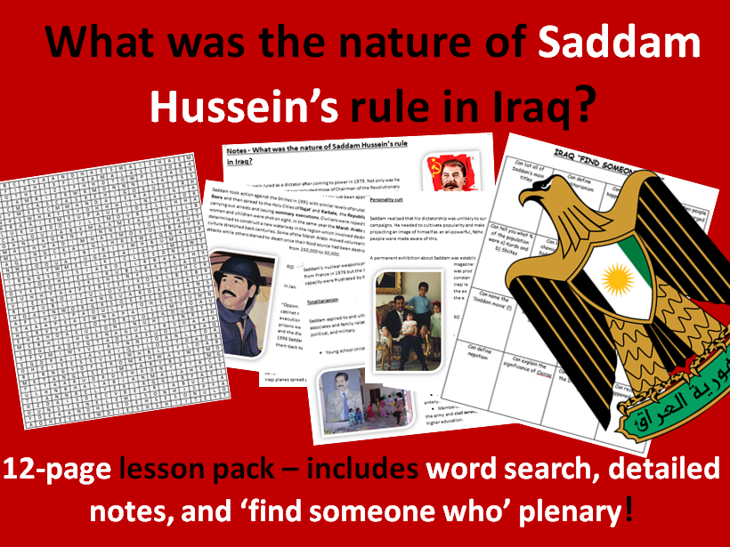 Saddam Hussein's Rule in Iraq - 12-page pack