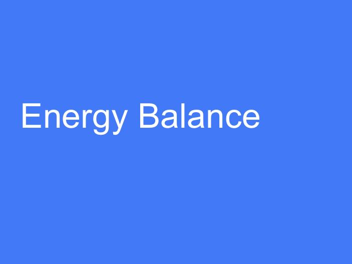 BTEC L3 (Unit 11): Energy Balance.