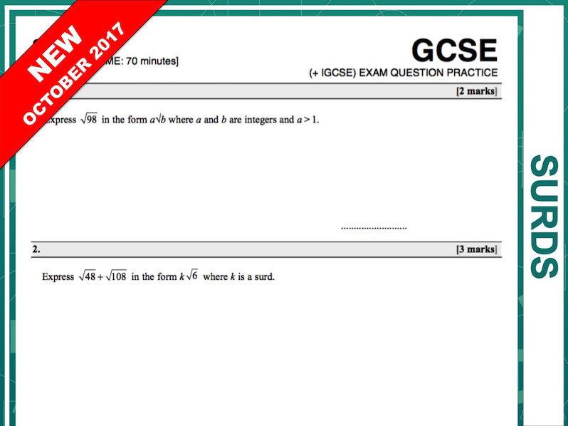 GCSE 9-1 Exam Question Practice (Surds)