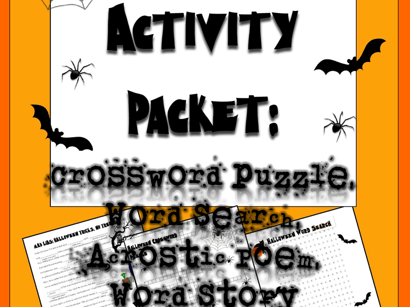 Halloween Activities: Crossword Puzzle, Word Search, Acrostic Poem, and Word Story