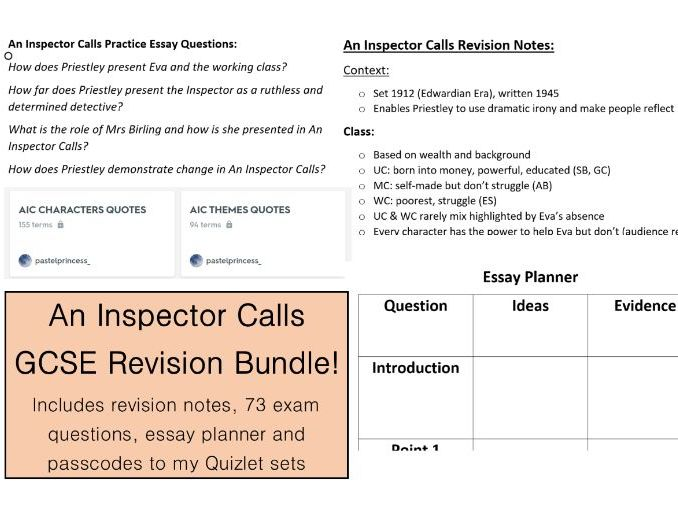 An Inspector Calls Revision Pack for Grades 7, 8, 9
