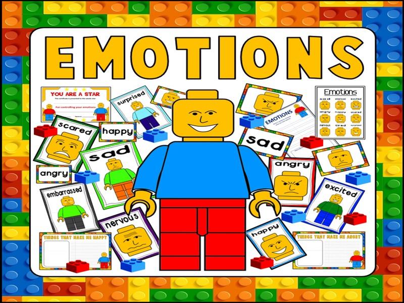 EMOTIONS FEELINGS TEACHING RESOURCES KS1 KS2 BEHAVIOUR DISPLAY LEGO THEME