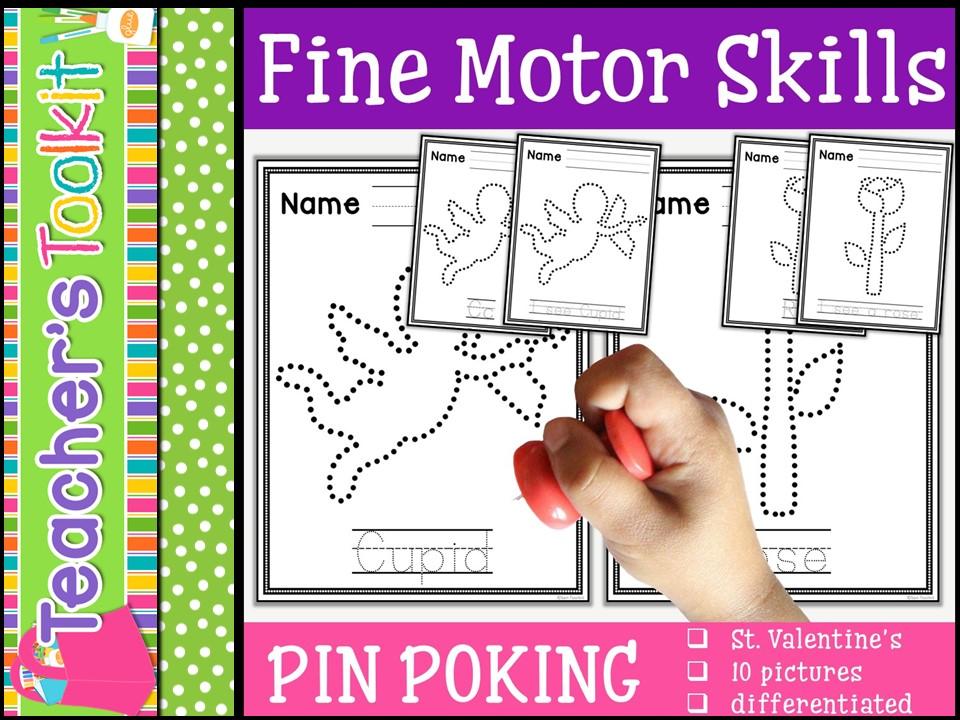 Motor Skills: Pin Poking St. Valentine's Day