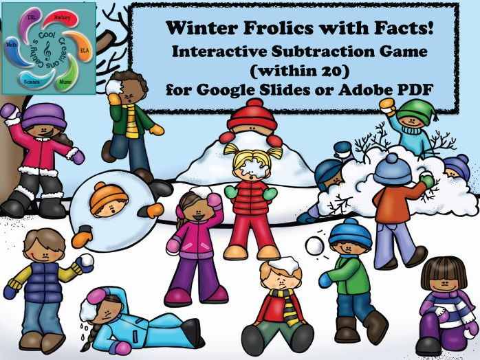 Interactive Subtraction Game for Google Slides /Adobe -Winter Frolics with Facts