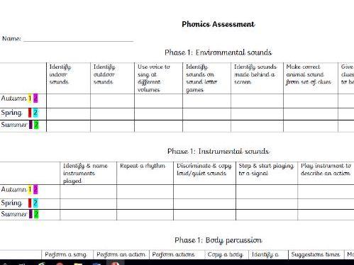 Phase 1 phonics assessment