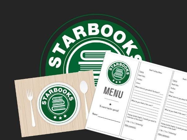 Starbooks Cafe book tasting session- Menu, slide and placemat