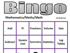 Mathematics Bingo - 50 math symbols and words
