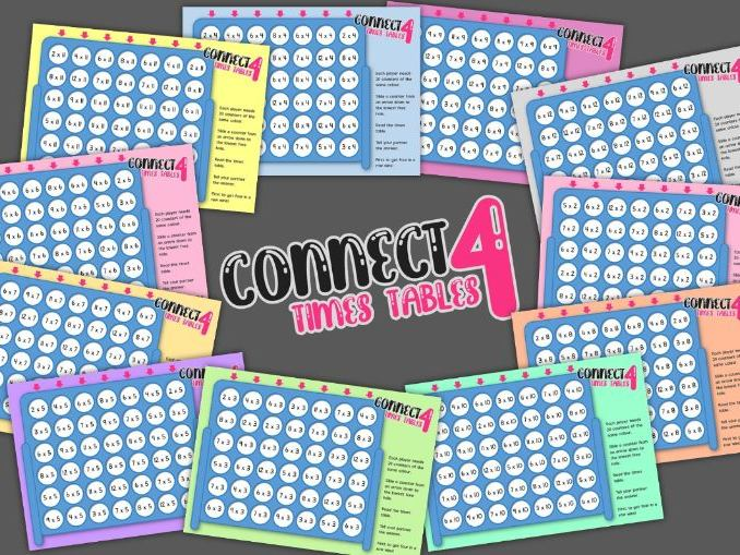Times Tables Connect 4 Games: X2-X12 Times Tables