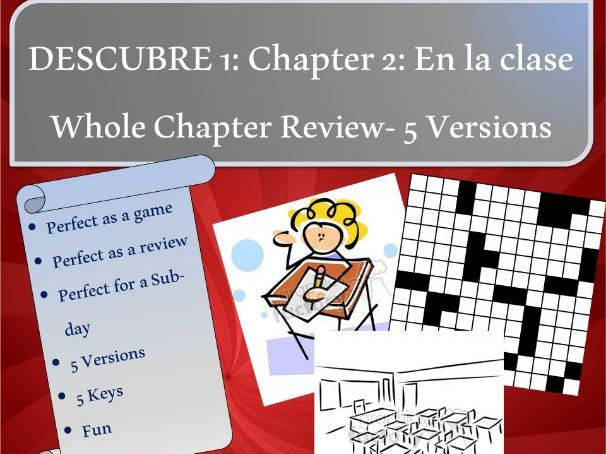 Descubre 1: Chapter 2: EN LA CLASE (School, school subjects, time and schedules)