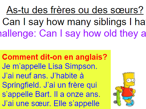 KS3 Year 7 French Expo 1 Module 3 As-tu des frères ou des soeurs? Brothers sisters siblings 4 lesson
