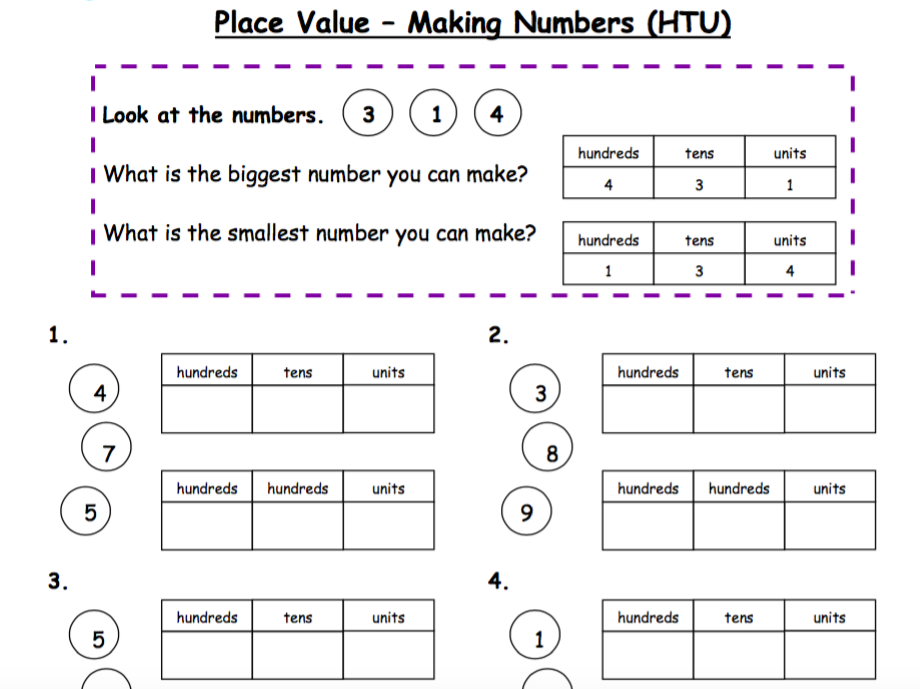 place value  partitioning  making numbers  htu  by