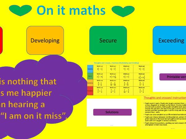 Fractions (adding and subtracting) - Thoughts and Crosses