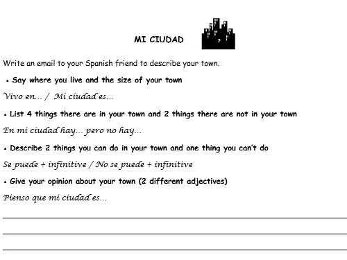 Spanish writing tasks 3 topics (house, food, town)
