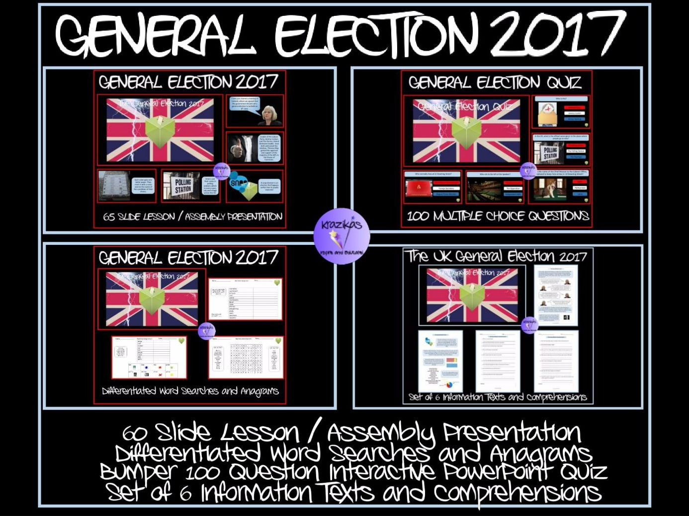 The UK General Election Bundle - Two Presentations, 100 Question Quiz, Information Texts and Comprehension Questions, Set of 6 Differentiated Word Seaches and Anagrams
