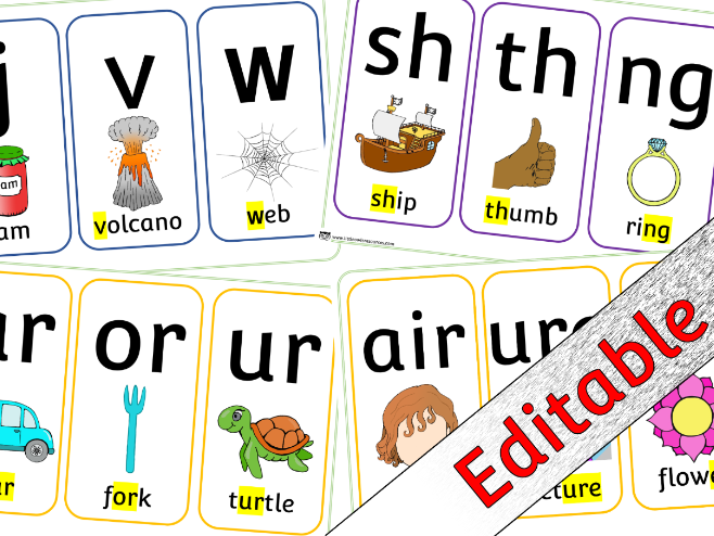 Phase 3 Phonics/Letters and Sounds - Cards - Editable