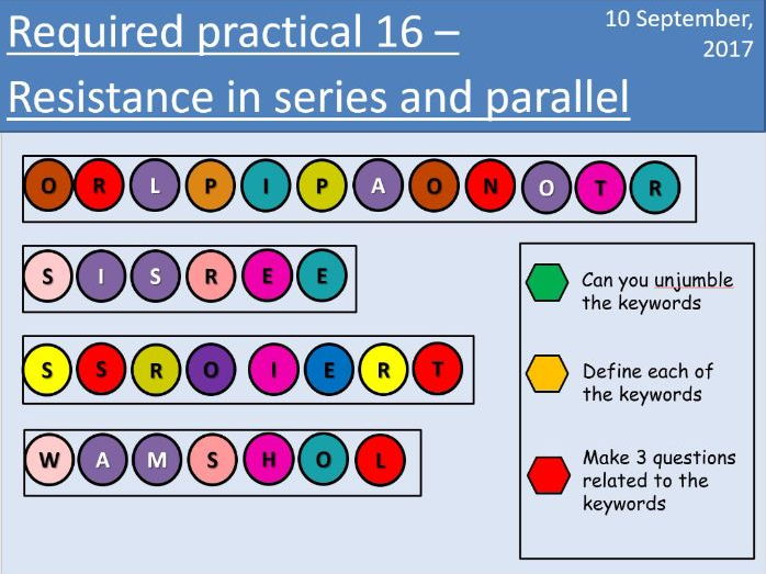 AQA New GCSE Electricity - Lesson 11 - Required practical 16 - Resistance in series and parallel