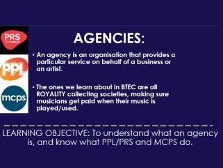 BTEC Music: Agencies
