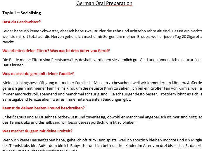 GCSE AQA German - Oral and Writing detailed revision notes