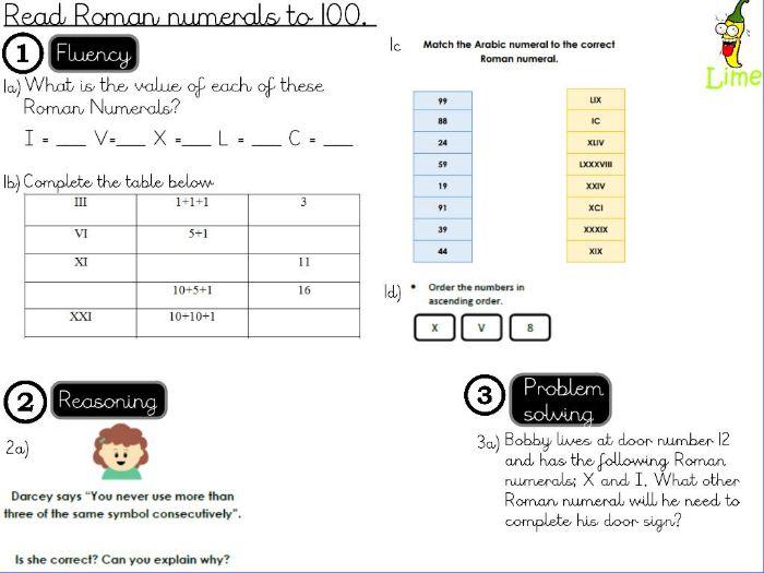 Place Value- Read Roman numerals  to 100- lesson 1/2 .