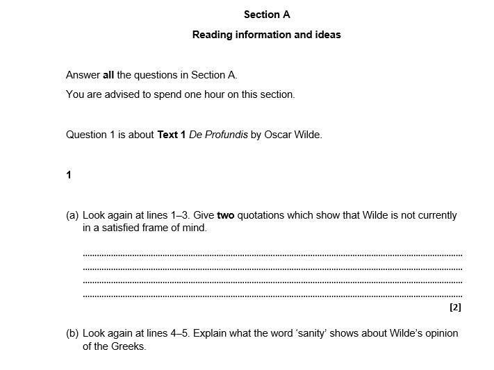 OCR-style English Language Practice Paper 1