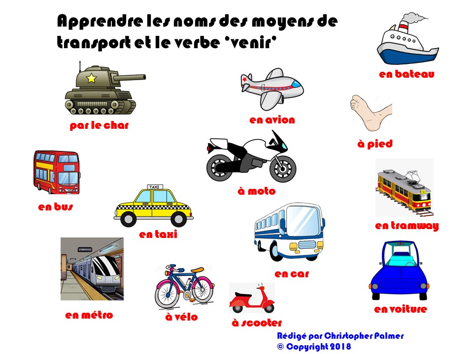 french  means of transport with revision of the verb