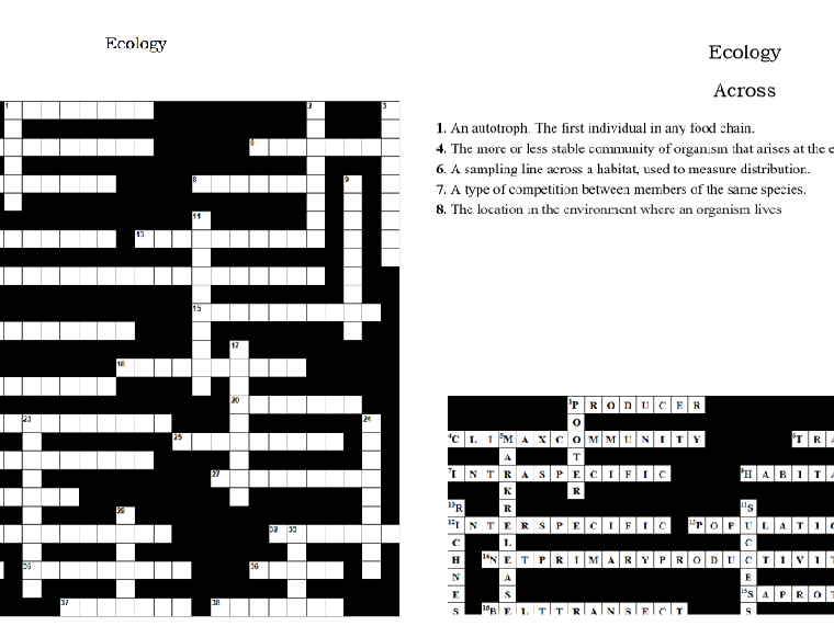 8. Ecology Crossword: Text Document and Webpages