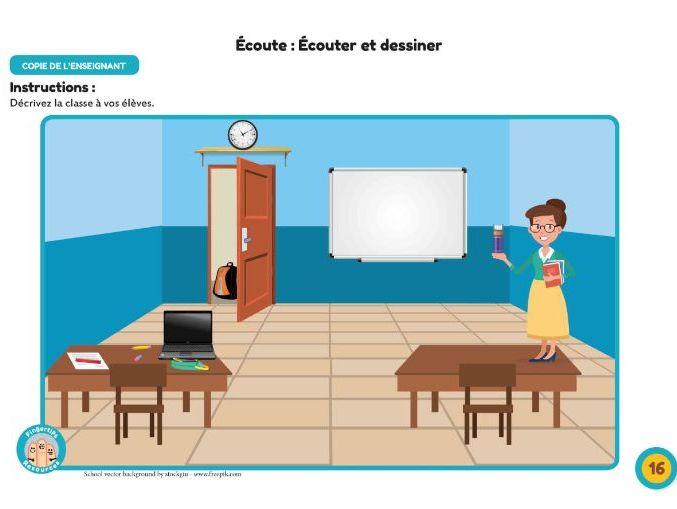 La Salle de Classe: Écouter et dessiner!