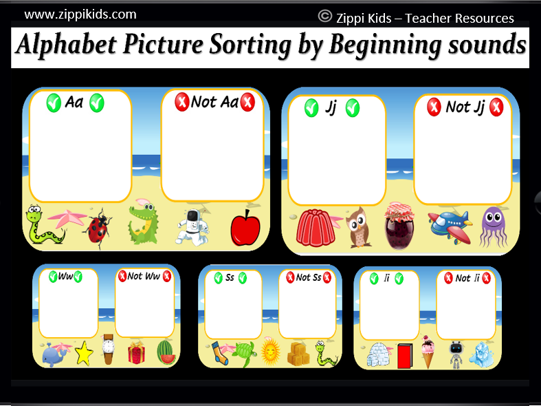 Virtual Letter / Alphabet Picture Sort (Beginning Sounds) - 26 Google Slide