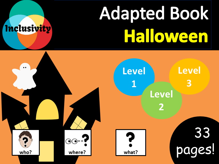 Halloween WHO, WHERE, WHAT? Adapted book preposition Level 1, Level 2 and Level 3