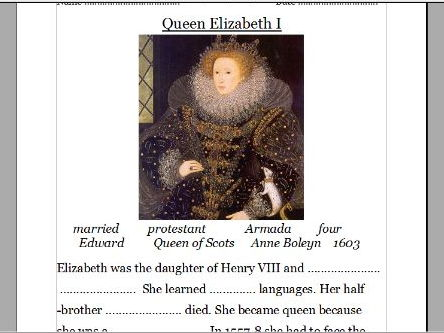 Queen Elizabeth I and Mary I (powerpoint and worksheet)