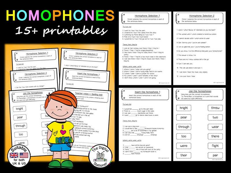 Homophone Pack - 15+ printables