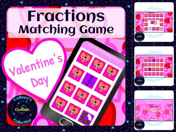 Valentines Day Fractions Digital Activity