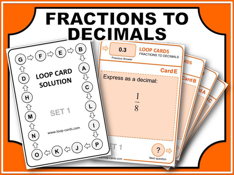 Loop Card Races (Fractions to Decimals)