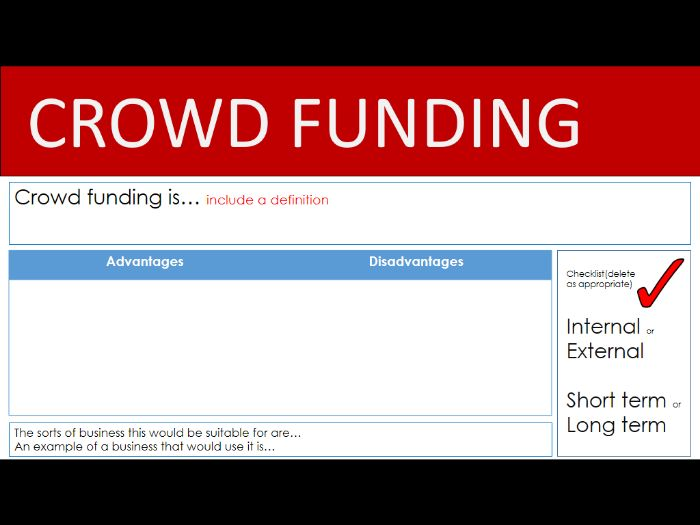 Sources of finance PowerPoint task for Cambridge Technical, GCSE or A Level Business